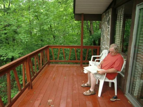Port Sydney, แคนาดา: Huge Deck length of the cottage overlooking Trillium Falls
