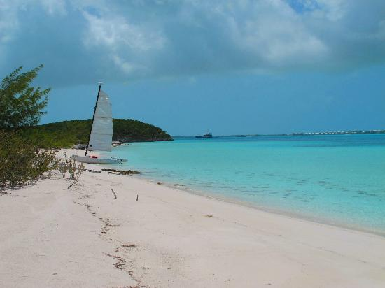 St Francis Resort: A beach on Stocking Island with the resort&#39;s hobie cat