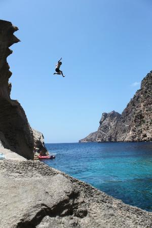 jumping from divers place - Picture of Es Vedra, Ibiza Town - TripAdvisor