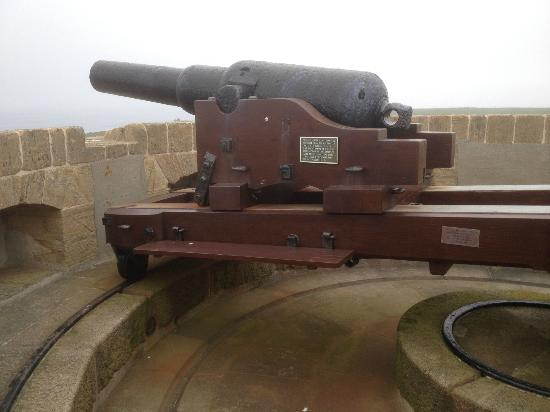 Hoy, UK: 64-pounder Armstrong gun atop Hackness Martello Tower