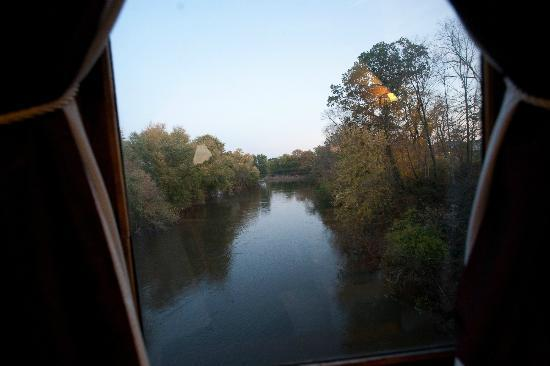 Walkersville, MD: Train moving just before twight - view out of one window, I think is Grape Creek