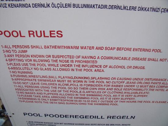 Swimming Pool Rules 5 Picture Of Belek Antalya Province Tripadvisor