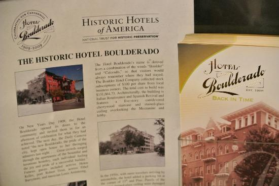 Hotel Boulderado: Historic info from the lobby