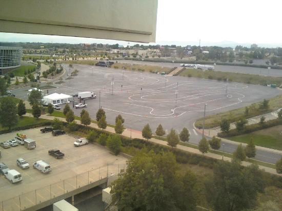 Hotel VQ: View from room (Sports Authority Field parking lot)