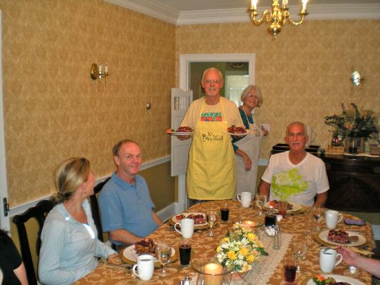 The Chadbourne House: Innkeepers, Jill &amp; Dave serving another gourmet breakfast