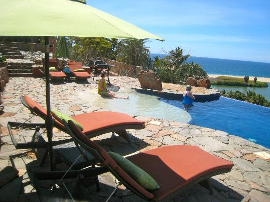 Los Colibris Casitas: Your view, with pool, lagoon and ocean on the horizon