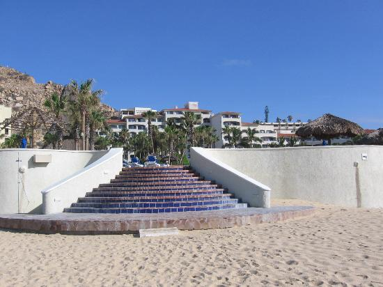 Sandos Finisterra Los Cabos: View from beach of the pool area with hotel in background