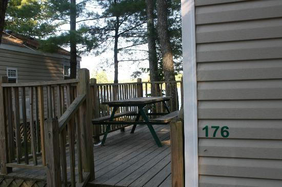 Point Sebago Resort: Our deck with unit number