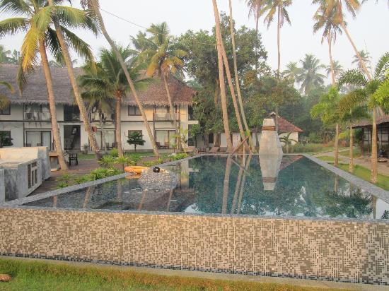 The Park on Vembanad Lake: Looking back to our balcony room from the pool area.