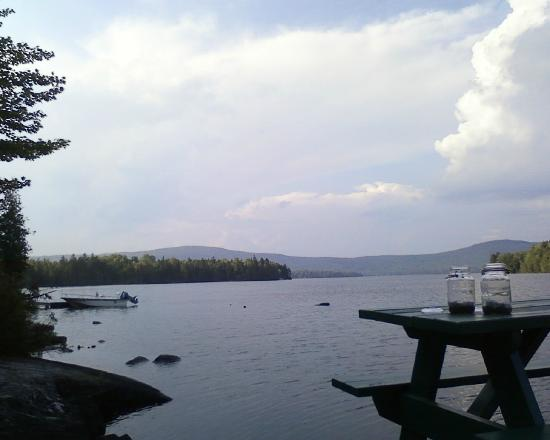 View from the dock of Secret Pond Lodge, Wilson Pond Camps, August 2011.