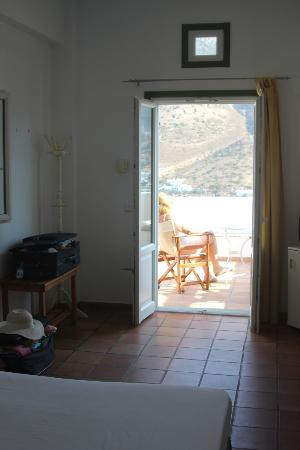 Margado Accommodations: view from bedroom looking out on to main terrace