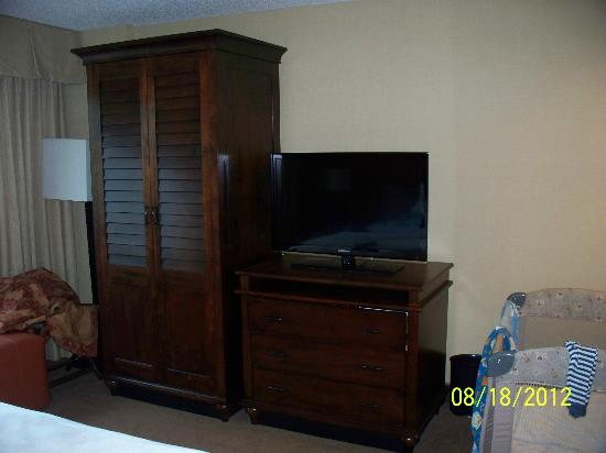 Embassy Suites Indianapolis North : The wardrobe and tv in bedroom. This was the only closet.