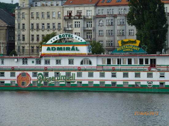 Botel Admiral: Closer view from across the river