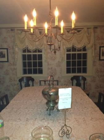 Jonathan Foote 1778 House: dining room with cookies or brandy for a nightcap