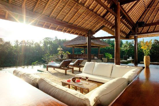 Villa Santai Ubud Recessed Pavilion Sitting Area with View of Dining Bali in Background