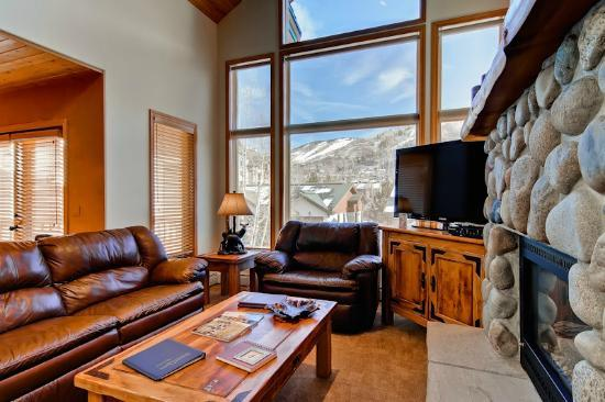 Evergreens Townhomes: Sample Living Room with View of Ski Area