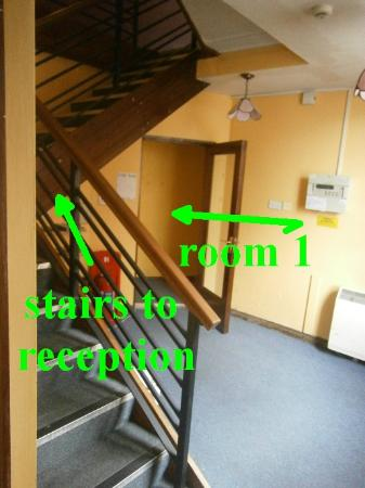 Paddy's Palace: Stairs up to reception, room 1 ground floor around the corner