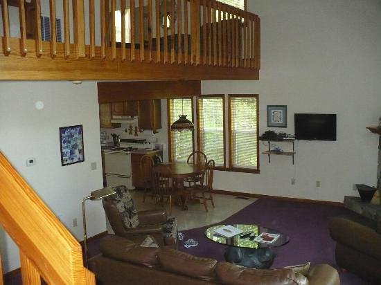 Mountain Laurel Chalets: View from the stairs: loft and kitchen