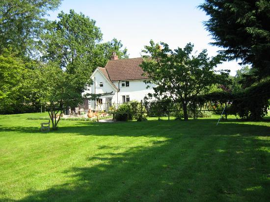 Monk Soham House: view across lawn