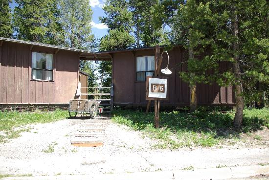 Canyon Village Campground: Outside pictures of Frontier Cabin - one with bathroom