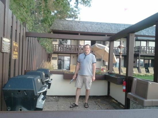 Beach Haus Resort: Hubby grilling some steaks!  :)