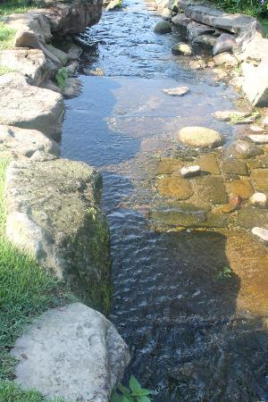 Lookout Point Lakeside Inn: The stream trickles down toward the lake