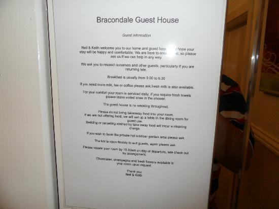 Bracondale Guest House: Room notice