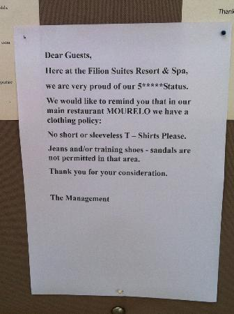 Filion Suites Resort &amp; Spa: What a joke this notice is - not deserving of 5 stars!!!