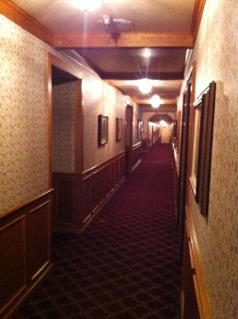 Petersen Village Inn: The hallway with lots of paintings by Dutch artists on the wall.
