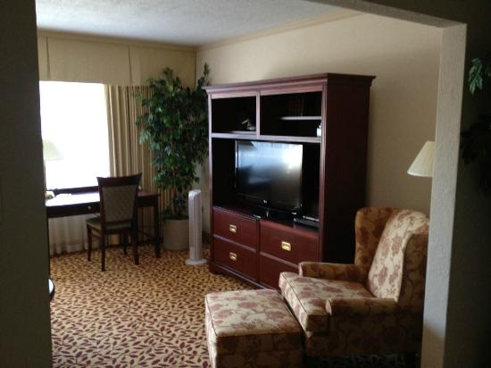 Royal Scot Hotel & Suites: Living Room (TV, DVD player, lots of books)