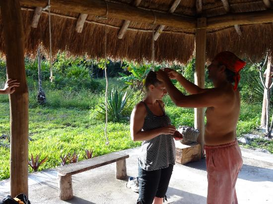 Temazcal - Mayan Steam Lodge: getting our 'gift'