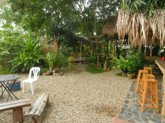Deejai Backpackers: The hostel garden area.