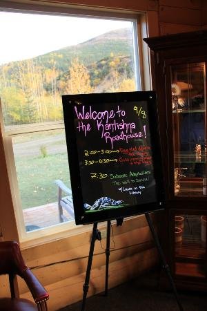 Kantishna Roadhouse Activity Board in the Lobby