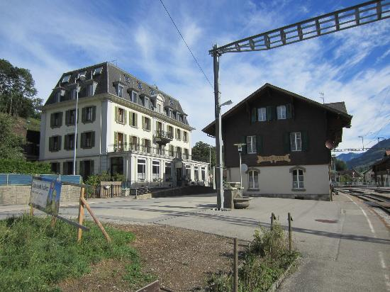 Hotel de la Gare, and Montbovon station, Switzerland