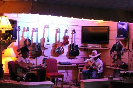 Crazyhorse Ranch &amp; Lodge: The stage where you become a star. Or just let James and Dan entertain you. Bongos anyone?