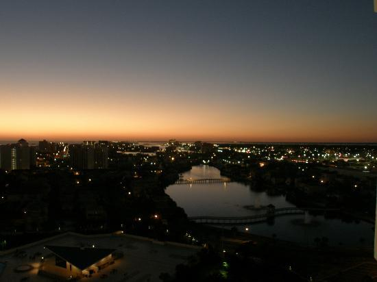 Resorts of Pelican Beach: Looking east at sunset from the 18th floor.