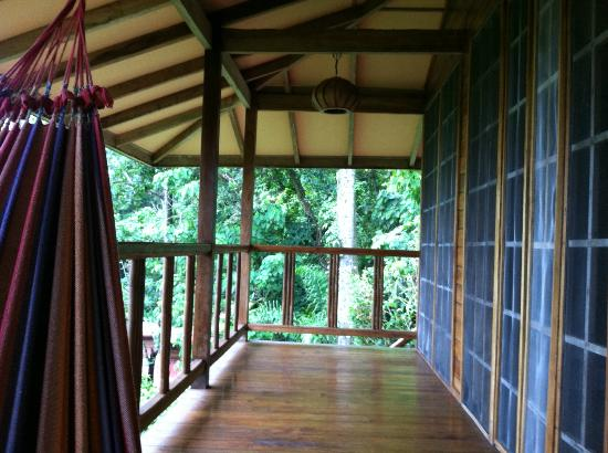 Samasati Nature Retreat: The balcony at the bungalow. I was in the hammock.