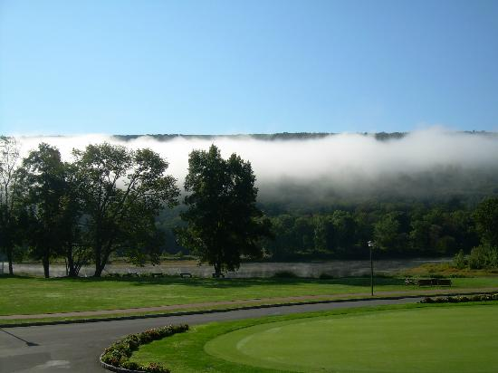 The Shawnee Inn and Golf Resort: early morning fog lifting off the river. pic taken from north veranda