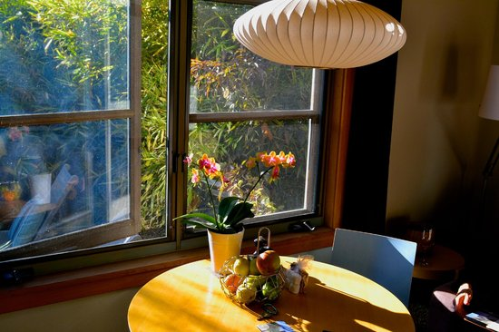 Coast Cabins: Table with a real orchid