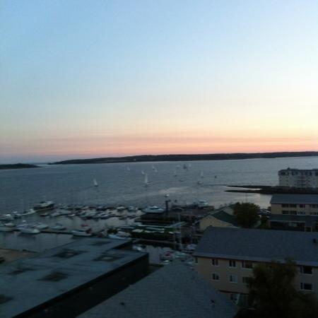 Delta Prince Edward: view from room of sunset in the harbour