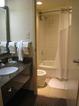 Holiday Inn Calgary - Macleod Trail South: If you're not careful coming out of the bathroom, you can clock someone who's using the sink