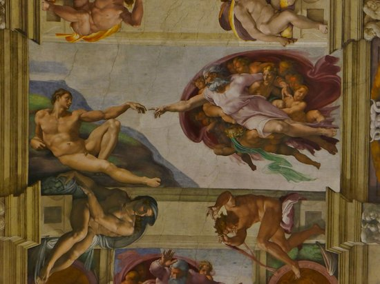 Michaelangelo 39 s masterpiece sistine chapel ceiling for Creation of adam mural