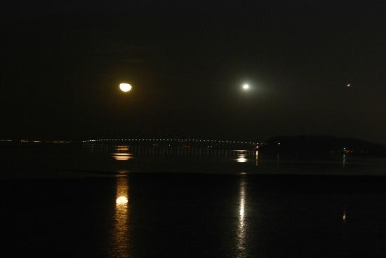 Vagabond Inn Executive SFO Airport: Nice view at night with moon and the bridge in the background.