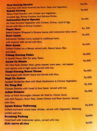 Senggigi, Indonesien: Indonesian menu - other western dishes also available