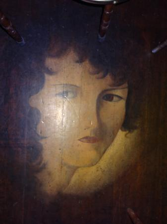 Historic Western Hotel: Juanita painted on the bar floor 100 plus years ago in exchange for beers!