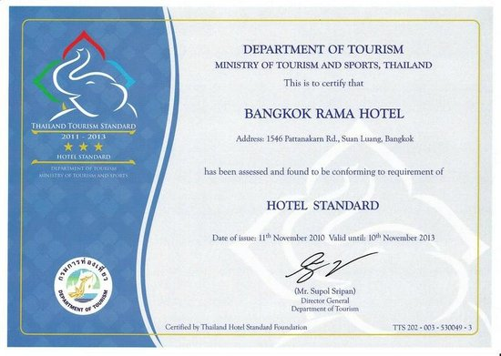 Bangkok Rama Hotel: Thailand Authority of Tourism certificate for 3 star