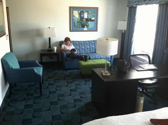 Hampton Inn & Suites Dallas / Lewisville - Vista Ridge Mall: living room area...with desk in foreground