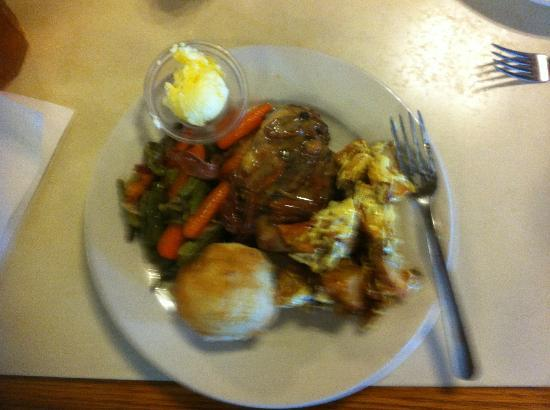 Baxter Springs, KS: Pecan chicken, fried potato salad, green beans and carrots