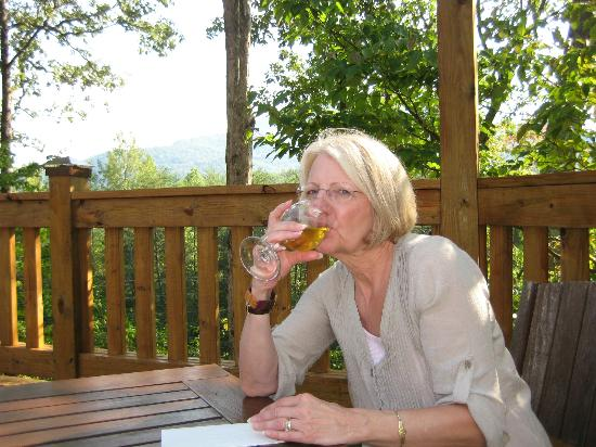 Sylvan Valley Lodge: Enjoying wine with a mountain view, which were actually much more vibrant than our camera picked