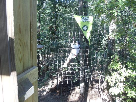 Rockville, MD: the first tarzan swing its easy just stay attached and step off